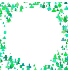 Abstract random pine tree pattern round border vector