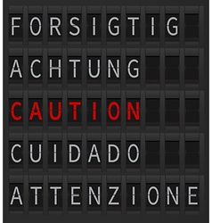 Airport timetable caution sign vector image