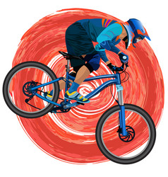 An image of a cyclist on a mountain bike vector