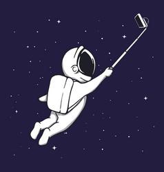 Astronaut makes selfie in space vector