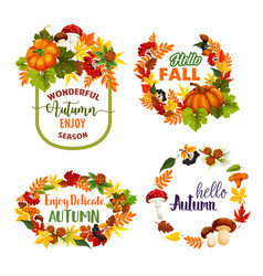 Autumn welcome fall leaf wreath icons vector