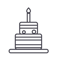 birthday cake line icon sign vector image