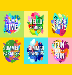 Bright abstract summer sale banners collection vector