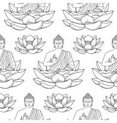 Buddha sitting on Lotus Seamless Pattern vector