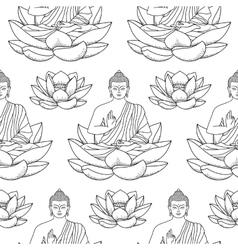 Buddha sitting on Lotus Seamless Pattern vector image
