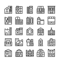 Buildings landmarks line icons 4 vector
