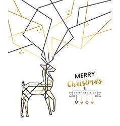 Christmas and new year abstract gold line deer vector