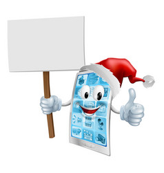 christmas sign mobile phone vector image