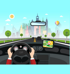 city with skyscrapers behind the car window on vector image