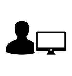Coder icon male person user with computer monitor vector