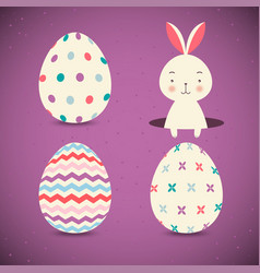 collection of easter eggs and easter bunny on vector image
