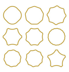 Collection of round outline decorative rope border vector