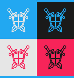 Color line medieval shield with crossed swords vector