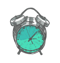 Colored alarm clock in hand-drawn style vector