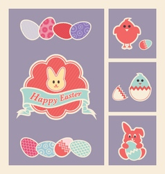 colorful easter design elements and icons set vector image