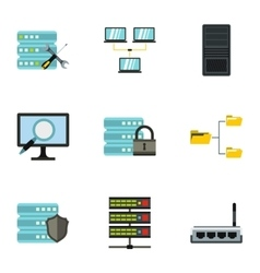 Computer data icons set flat style vector