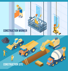construction banners set vector image