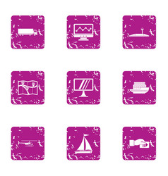 Contactless payment icons set grunge style vector