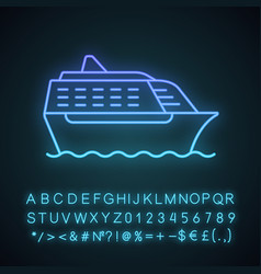 Cruise ship in side view neon light icon vector