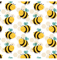 cute bee cartoon funny seamless pattern vector image