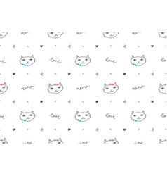 Cute cats faces seamless pattern vector