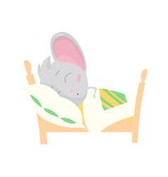 cute grey mouse sleeping stock vector image