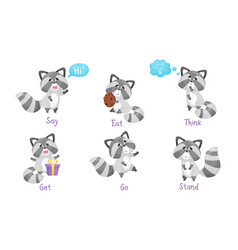 Cute raccoon engaged in eating and running vector