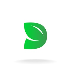 D letter logo template Green leaves nature concept vector image