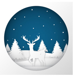 Deer standing in a snow field in christmas night vector
