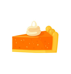 dessert piece of pumpkin cake isolated vector image