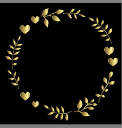 doodle heart and leaf circle frame on a black vector image