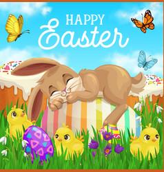 Easter bunny sleeping on egg green grass chicks vector