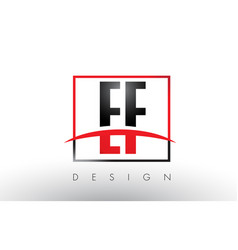 Ef e f logo letters with red and black colors and vector