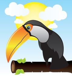 Exotic bird on branch vector