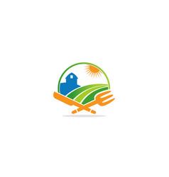 Farm landscape ranch food logo vector