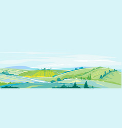 farming hills panorama landscape background vector image