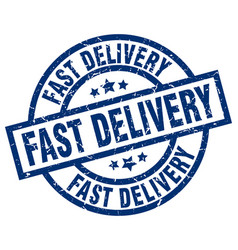 Fast delivery blue round grunge stamp vector