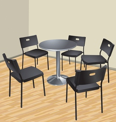 Five chairs and table interior scene vector