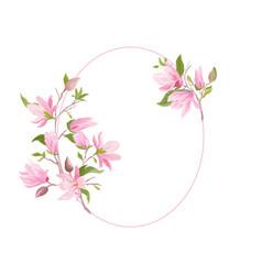 floral wedding frame boho magnolia flower vector image