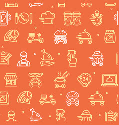 food delivery service signs seamless pattern vector image
