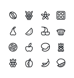 Fruit and desert icons vector