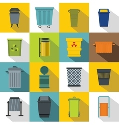 Garbage container icons set flat style vector