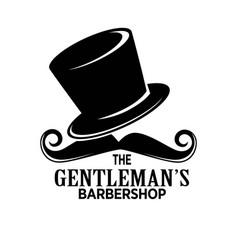 gentlemans barber shop black emblem with tall hat vector image