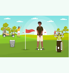 Golfing conceptyoung man is about to hit ball vector