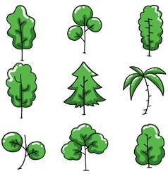 Green tree on doodles set vector