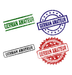 Grunge textured german amateur seal stamps vector