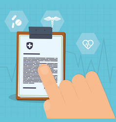 Hand touch clipboard report medicine vector
