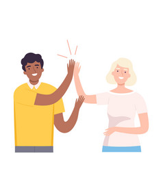 Happy african american man giving high five to vector