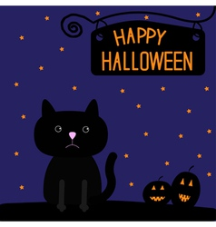 Happy Halloween black cat and pumpkins card vector