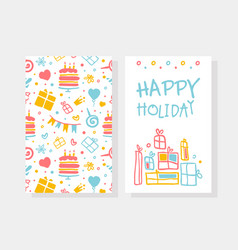 Happy holiday card template birthday party for vector